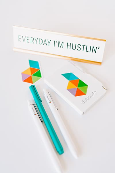Nameplate that says Everyday I'm hustlin'