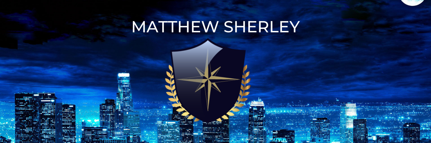 dark blue city scape with a shield over it and the name matthew sherley