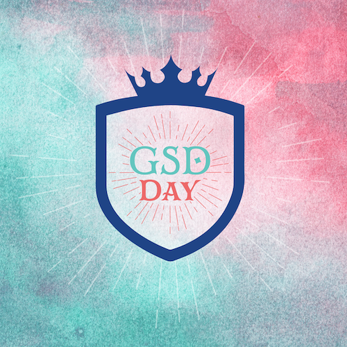 Pink and green gradient background with the GSD Day logo