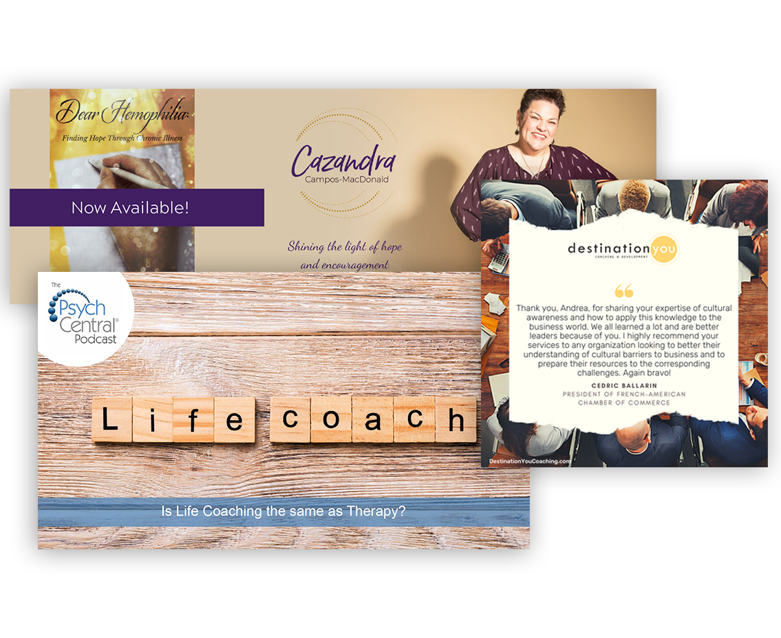 Picture collage of tiles that spell out life coach, a ripped piece of paper with a quote on it, and cazandra macdonald posing with her hands on her hips next to her book